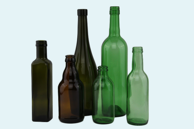 Bottles brown (amber) and green (olive and UVAG) glass