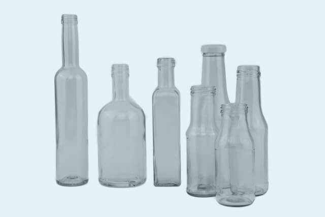 Bottles white glass various mouth options